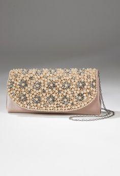 Handbags - Multi Pearl Rhinestonestone Flap Handbag from Camille La Vie and Group USA