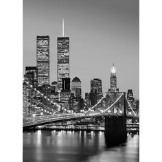 Manhattan Skyline at Night 2.54m x 183cm Wall Mural Home Loft Concept
