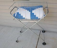 Vintage Laundry Basket Cart on Wheels by cheryl12108 on Etsy, $65.00
