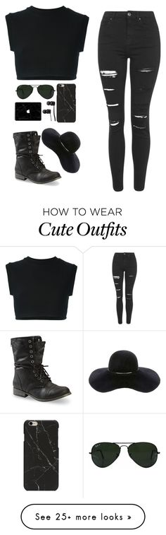 """cute black outfit"" by anxitiesed on Polyvore featuring adidas Originals, Topshop, Ray-Ban, Vans and Eugenia Kim"