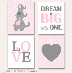Elephant art printable, baby girl nursery set, pink grey elephant nursery decor, Dream big little one, Set of 4 prints, INSTANT DOWNLOAD on Etsy, $20.00