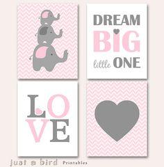 Elephant art printable, baby girl nursery set, pink grey elephant nursery decor, Dream big little one, Set of 4 prints, INSTANT DOWNLOAD on Etsy, $20.00