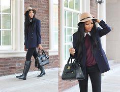 Beige Hat, Burberry Black Riding Rain Boots, 3.1 Phillip Lim Black Purse