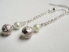 Pearl dangle earrings fancy hollow silver by handmadeintoronto, $15.00