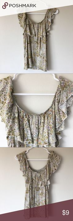 Selling this Off-the-Shoulder Floral Overlay Top on Poshmark! My username is: coleeescloset. #shopmycloset #poshmark #fashion #shopping #style #forsale #Mossimo Supply Co. #Tops