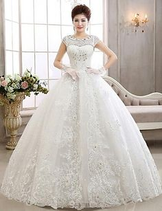 A-line Bateau Ankle-length Wedding Dress (Lace) – USD $ 119.99