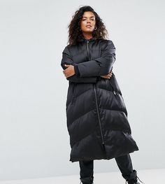 ASOS CURVE Longline Puffer Coat - Black