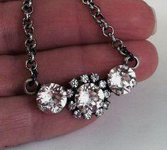 New Swarovski Clear Crystal Three Pendant by HisJewelsCreations, $30.00