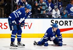 Auston Matthews of the Toronto Maple Leafs and teammate Mitchell Marner laugh during warm-up Mitch Marner, M Photos, Sidney Crosby, National Hockey League, Toronto Maple Leafs, How Big Is Baby, World Of Sports, Pittsburgh Penguins, Hockey Players