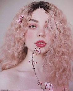 Sweetness portrait photography by Xenia Lau, gifted Russian photographer and artist currently based in Barcelona, Spain. Xenia captures magical portraits with stunning soft colours, pink tones and super pretty girls. Aesthetic People, Aesthetic Girl, Blonde Aesthetic, Curly Hair Styles, Natural Hair Styles, Pink Ombre Hair, Ombre Bob, Synthetic Lace Front Wigs, Makeup Art
