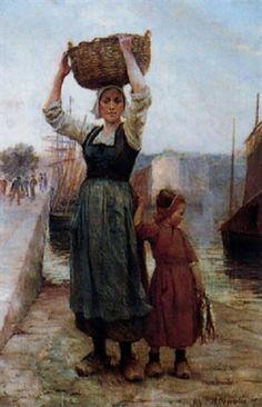 Femme de pêcheur et sa fille par Théophile-Louis Deyrolle