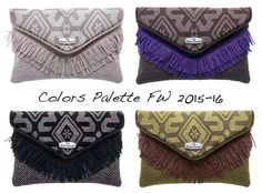 """HIPPY"" Clutch Autunno Inverno 2015-16 <3 Diamo colore a questo inverno ;-) Voi?! Quale vorreste?! BEIGE - CIOCCOLATO - NERO - VERDE #colorpalette #fw1516 #autunnoinverno #diamocoloreaquestoinverno #ethnic #fabrics #elenacasati #handmade #madeinitaly #love #newbagscollection #clutch #hippy #ibizainmysoul #ibizastyle #frange #cute #colors"