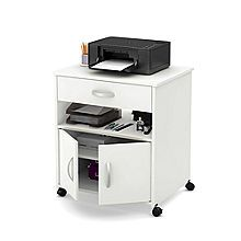 Free up space on your desktop by moving your printer to the Axess Printer Cart on Wheels by South Shore . Mounted on locking caster wheels, the printer. Printer Cart, Printer Station, Office Furniture Stores, Metal Drawers, Office Storage, Desk Organization, Storage Cabinets, Smart Home, Adjustable Shelving