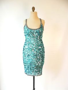 TURQUOISE BEADED SEQUINED Gogo Flapper Prom by HousewifeVintage, $120.00