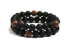 Chakra Mala Bracelet with Sandalwood Wood Beads & Matte Onyx Gemstones Handcrafted Jewelry, Handmade Items, Handmade Gifts, Best Gifts For Him, Bracelet Sizes, Bohemian Jewelry, Chakra, Gemstone Jewelry, Jewelry Design