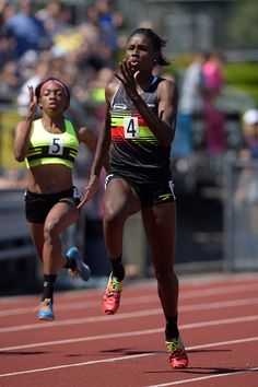 US sprinter Candace Hill in action in the 100m (Kirby Lee)