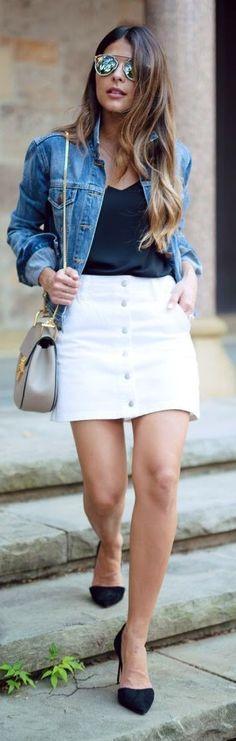#spring #fashion #denim #outfitideas |Denim Jacket + White Denim Button Skirt