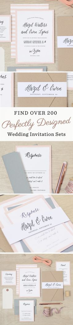 Create the perfect wedding invitation set with 200 unique designs that offer matching save the dates, wedding invitations,  enclosure cards, wedding menus, programs, and thanks you cards. Then make it stand out with accessories such as pockets, belly bands and logo squares.: