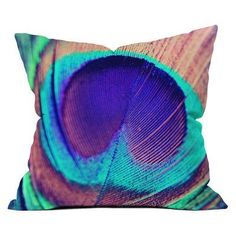 DENY Designs Shannon Clark Pretty Peacock Outdoor Throw Pillow - 16082-OTHRP20
