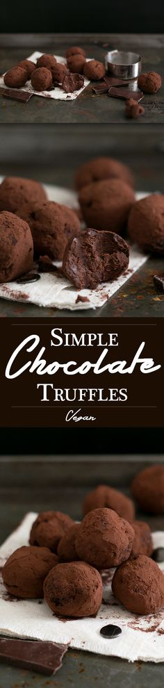 Simple Vegan Chocolate Truffles made with Dark Chocolate, Coconut Cream, Maple Syrup Sea Salt, Espresso and Vanilla Bean. Easy to make, decadent, yum. #vegan #chocolate #simple #recipes #vegandesserts #chocolatetruffles