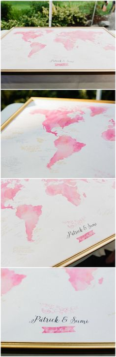 Pink Watercolor Wedding Map Guest Book.  The start of a great adventure! Choose your color, add your names and dates, and display your painted world map at your wedding as a guest book alternative you will enjoy for years to come. Click to see more! Captured by Meredith McKee Photography.