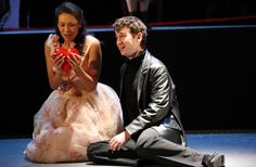 Massenet's Cendrillon: Cathy-Di Zhang (Lucette/Cendrillon) with Richard Dowling (Le Prince). © Royal Academy of Music, November 2013