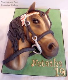 Making a carved 3-d Horse's Head Cake by Mother and Me Creative Cakes