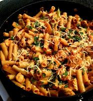 Chicken Riggies!  This looks very much like the recipe I've used.  Spicy, sweet, creamy, a little cheesey... Mmmm!