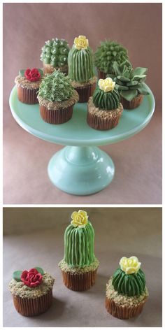 "truebluemeandyou:  DIY Cactus Cupcake Tutorial from Alana Jones-Mann here. These cupcakes are topped with graham cracker or Teddy Grahams for the ""dirt"". First seen at Make here. Pair them with knit and pin cushion cacti here."