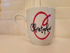 Custom gift personalized monogrammed boutique style coffee cup mug. $12.49, via Etsy.