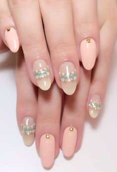 Another beautiful, pastel summer nail art look can be created with peach, baby blue and pink nail polish shades. to create the beaded illusion, Fabulous Nails, Gorgeous Nails, Pretty Nails, Almond Shape Nails, Almond Nails, Fancy Nails, Diy Nails, Wedding Nails Design, Japanese Nails