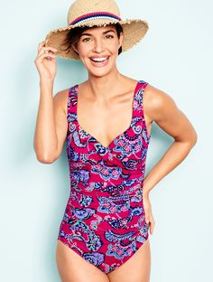 610bf64d84 Dive into the season wearing a new swimsuit in a vivid paisley print with a  fun