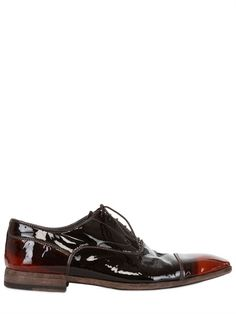 OFFICINE CREATIVE - BICOLORED PATENT LEATHER LACE-UP SHOES - LUISAVIAROMA - LUXURY SHOPPING WORLDWIDE SHIPPING - FLORENCE