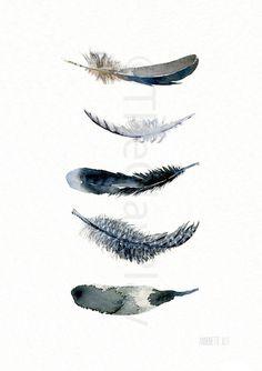 Wand-Dekor-Kunst fünf schwarze Federn. Aus original Aquarell - TheClayPlay Giclee Kunstdruck. Gemälde des Malers Annemette Klit. 5 Federn aus