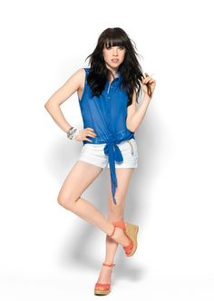 In a breezy blue #Candies top, Carly Rae Jepsen keeps it cool. #Kohls