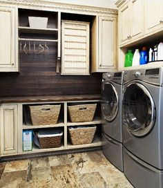 Small narrow laundry room ideas with wood wall panel cabinet | Decolover.net
