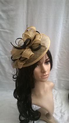 Pale Golden   Black Fascinator ..Sinamay and Feather Teardrop style with  swirls  22797a0cf785