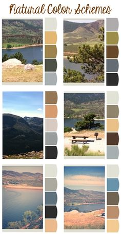 DIY Idea For Old Suitcase Natural color schemes paint palettes inspired by Colorado mountains Gray beige brown greige rooms with accents inspired by nature Rocks green hi. Palette Design, Nature Color Palette, Room Colors, House Colors, Paint Colors, Natural Homes, Natural Home Decor, Design Seeds, Feng Shui