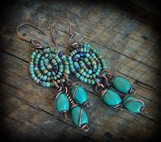 Glass Seed Beads and Turquoise Drop Beaded Earrings. $39.00, via Etsy.