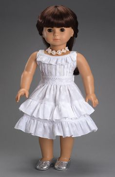 Fleur Blanc Dress Fits American Girl, Our Generation and Journey Girl Dolls My American Girl Doll, American Doll Clothes, Ag Doll Clothes, Doll Clothes Patterns, Doll Patterns, Frocks For Girls, Kids Frocks, Girl Dolls, Girl Outfits