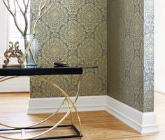 Anna French- Zola- Annette Metallic Gold on Smoke Smoke Wallpaper, Fabric Wallpaper, Anna French, Candice Olson, French Fabric, Cold Night, Traditional Wallpaper, Textures Patterns, Interior Decorating