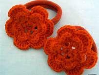 gehaakte oranje haarelastiekjes