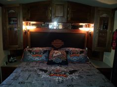 Motorhome - Completed Bedroom - new curtains, painted walls, new light fixtures, homemade headboard ...