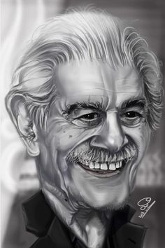 Omar Sharif, born Michel Dimitri Chalhoub 10 April 1932 - 10 July 2015) Egyptian actor. He began his career in the 1950's, but is best known for his appearances in both British & American productions. His films included Lawrence of Arabia (1962), Doctor Zhivago (1965), and Funny Girl (1968). Nominated for an Academy Award. He won three Golden Globe Awards & a César Award. (Dunway Enterprises) http://dunway.com - http://masterpaintingnow.com/how-to-draw-everything?hop=dunway