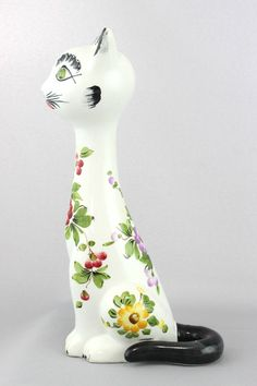 A vintage pottery cat Italian ? Hand painted floral design Kitsch 50's style | eBay