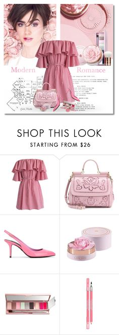 """""""***MODERN ROMANCE*** Spring / Summer 2017"""" by greta-martin ❤ liked on Polyvore featuring Lancôme, Chicwish, Dolce&Gabbana, modern, Pink, romantic, dress, ruffles and contestentry"""