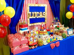 Circus theme candy table by Glam Candy Buffets!
