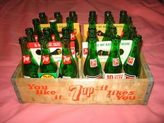 Vintage 7 UP Bottles, box