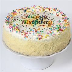Scrumptious Vanilla Birthday Cake - the perfect birthday cake delivery straight to your door! Birthday Cake Delivery, Davids Cookies, Online Bakery, Buttercream Filling, Cake Online, Cake Toppings, Chocolate Fudge, Vanilla Cake, Desserts