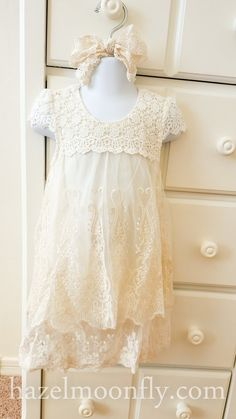 The Nina is everything I love. Rustic cotton lace and chiffon tulle embroidered with a delicate vintage floral pattern. Cap sleeves. One pearl button closure at the back of the neck. Soft. Timeless. Shown with the Gwen headband: http://hazelmoonfly.myshopify.com/collections/accessories-for-girls-of-all-ages/products/gwen-ivory-and-mustard-floral-headband-with-ivory-green-and-dark-taupe-accents